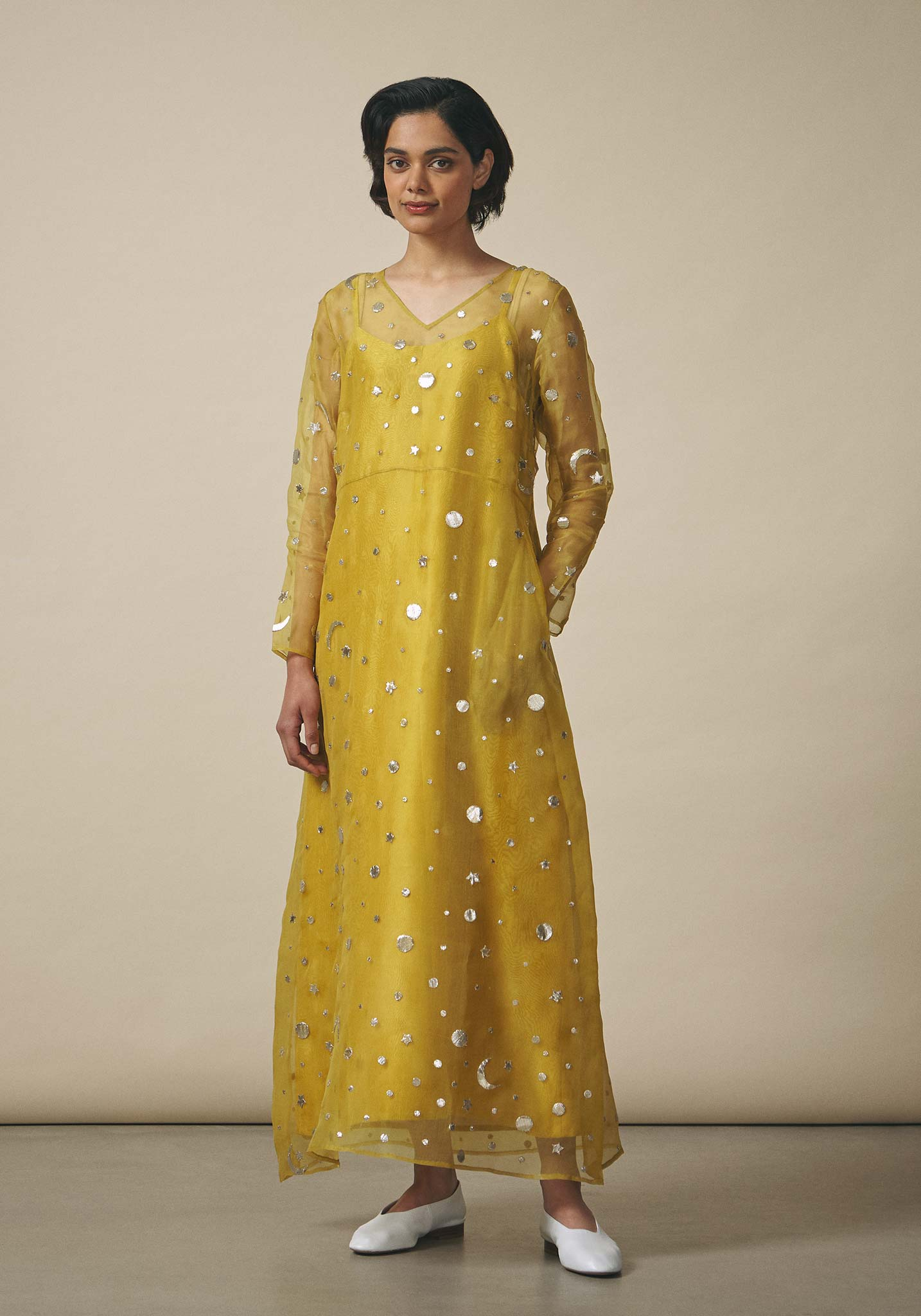 Zara Shahjahan, Organza Star-Embroidered Dress