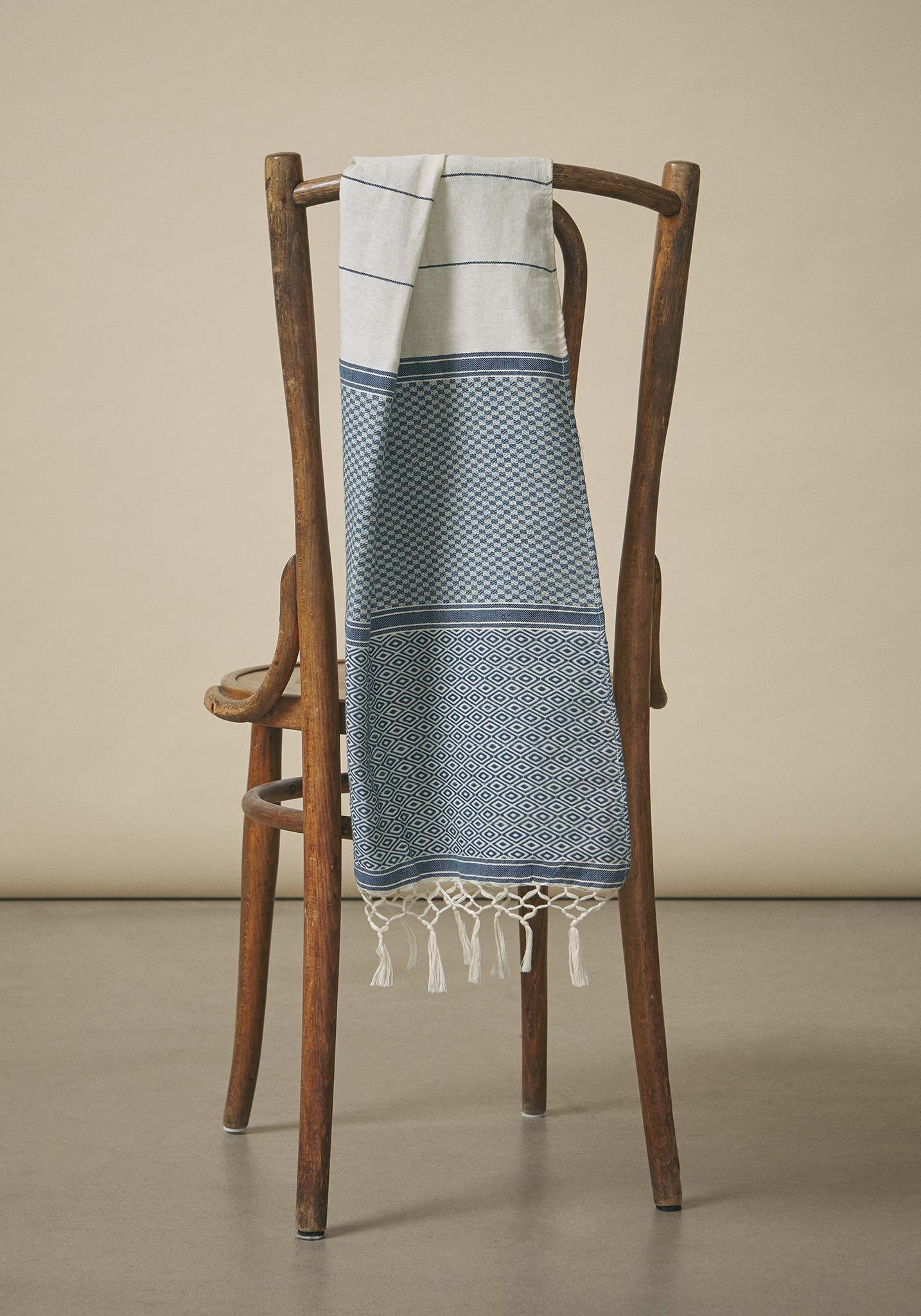 Koel, Hand-Woven Cotton Scarf, Natural Dye Blue