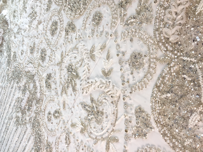 LUXURY BRIDAL BEADED LACE crystal fabric | Glam House fabrics