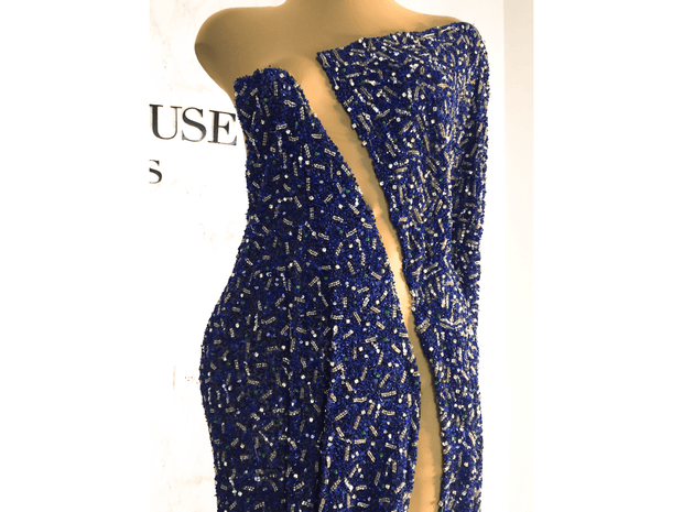 Beaded dress made with handmade blue lace with crystal stones | Glam House Fabrics