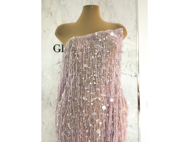 Luxury handmade gown beaded light pink glass beads fringes | Glam House fabrics