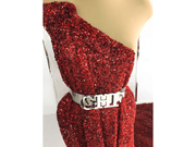 Red gown made with handmade sequins lace | Glam House Fabrics