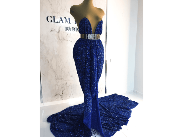 Luxury blue dress made wide beaded lace | Glam House Fabrics