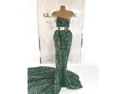 Evening dress made with handmade baeded green lace| beads and sequins| Glam House fabrics