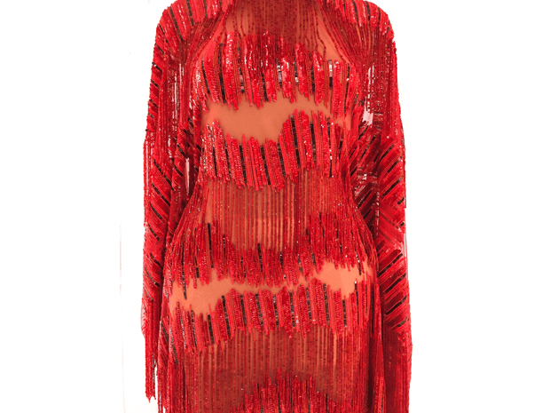 Handmade Fringes&sequines red lace