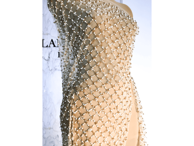 diamond shape beads | haute couture gown | Glam House Fabrics