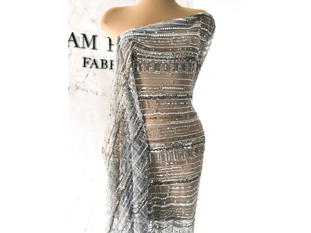 beaded silver evening dress made with handmade lace | Glam House Fabrics