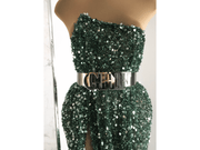 Evening gown made with handmade baeded green fabric| beads and sequins| Glam House fabrics