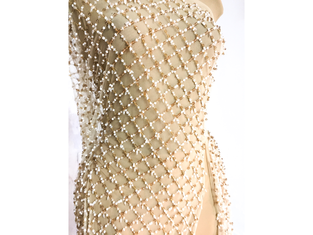 diamond shape beads | Evening gown | Glam House Fabrics