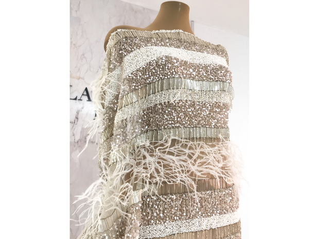 Geometric white&Pudra Handmade beaded lace with ostrich fur