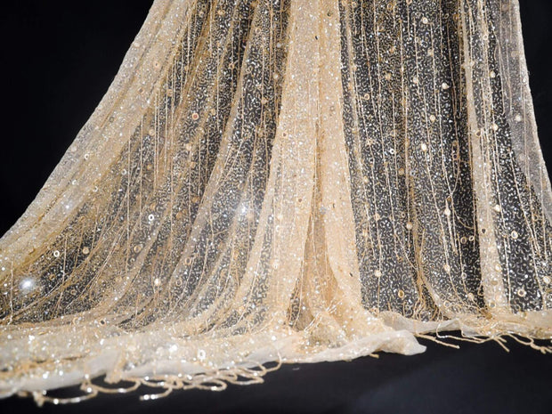 Handmade beaded lace with light champagne crystal fringes