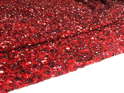 Crowded Deep Red Sequins&beads handmade lace