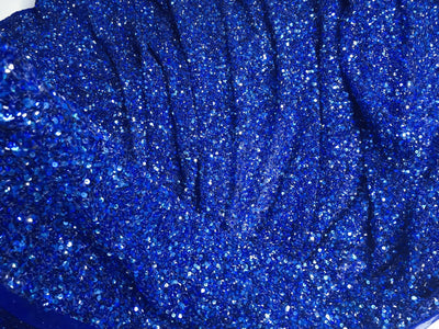 Crowded Royal Blue Sequins&beads handmade lace