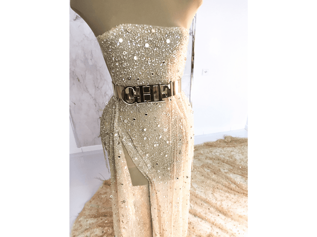 beaded dress made with handmade fringes gold lace