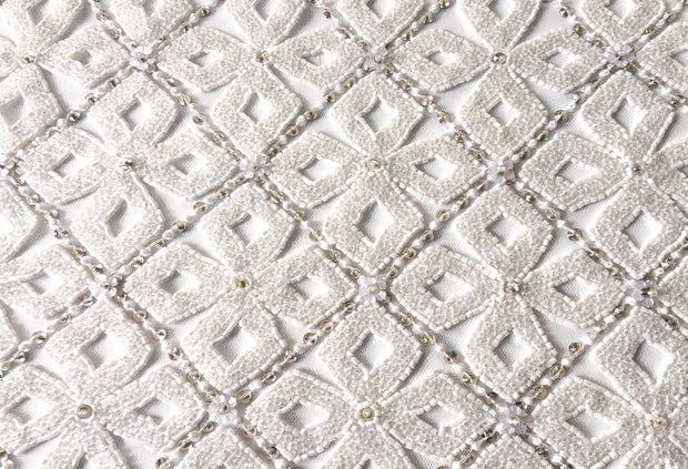 Flowers pattern white lace | Glam House Fabrics