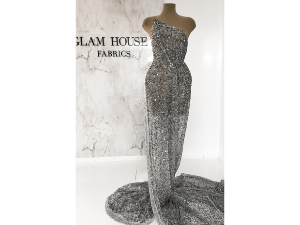 Gray beaded gown | handmade lace | Glam House Fabrics
