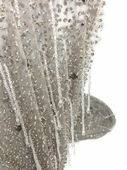 Luxury Crystal Stones gray Handmade lace with Crystal Drops Fringe