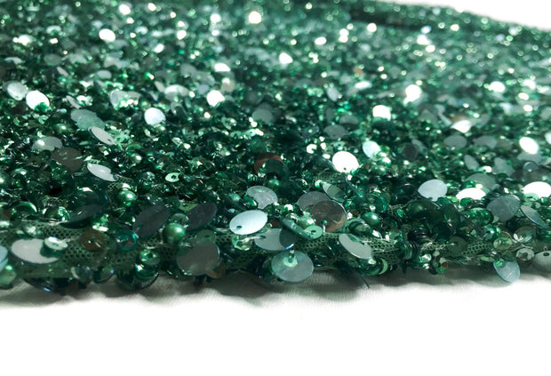 Magic green beads and pearls Handmade lace