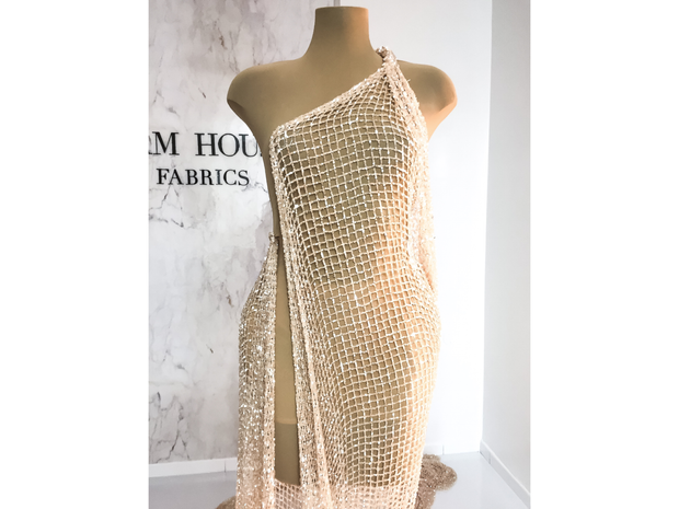 Shiny Light Peach/Pudra Sequins Handmade Net