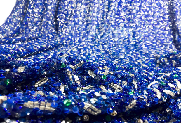 Ocean Handmade beaded lace- Mix of Royal blue, green & silver