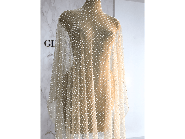 dress form wearing handmade pearls and crystal stones lace | Glam House Fabrics
