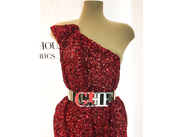 Red dress made with handmade sequins lace | Glam House Fabrics