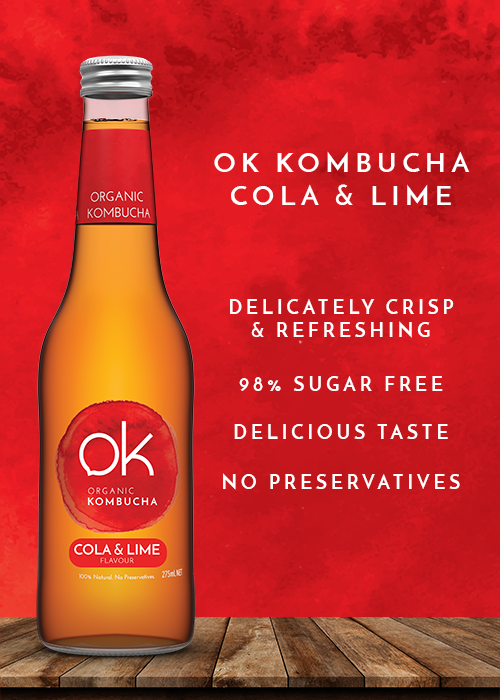 Ok Kombucha Cola & lime healthy and tasty drink