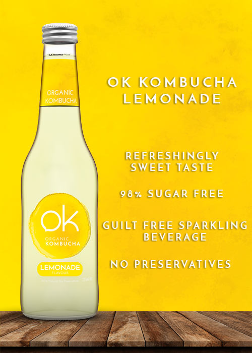 Ok Kombucha lemonade healthy and tasty drink