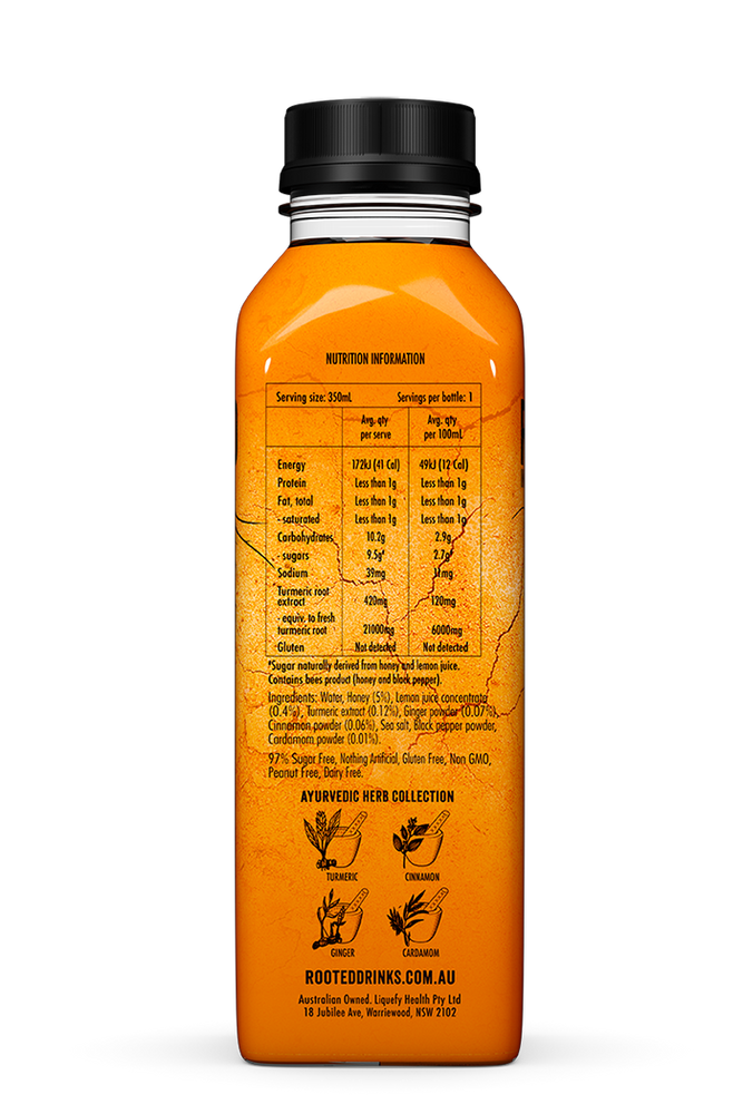 Rooted Turmeric Elixir Healthy Drinks ingredients