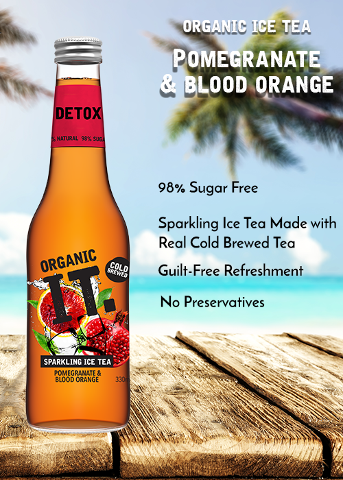 Organic IT ice tea pomegranate and blood orange healthy drink