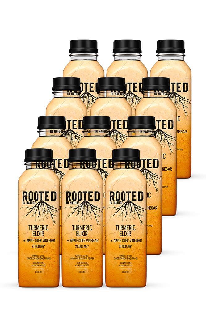 Rooted Turmeric Elixir Healthy Drinks Apple Cider Vinegar 12 pack