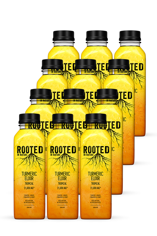 Rooted Turmeric Elixir Tropical Healthy Drinks 12 pack