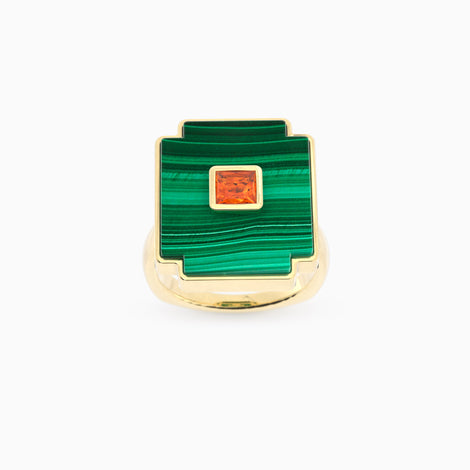 Bague grenat mandarin & malachite