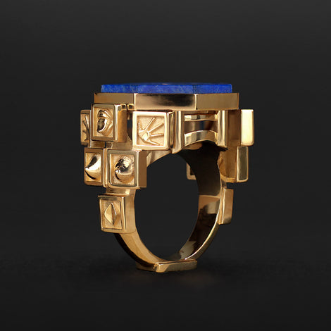 Bague Homunculus en or, diamants et lapis-lazuli
