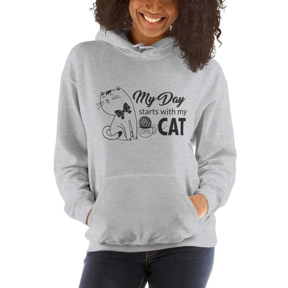 My Day Starts With My Cat-Hooded Sweatshirt - bonboma