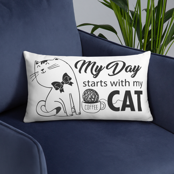 My Day Starts With My Cat-Basic Pillow - bonboma
