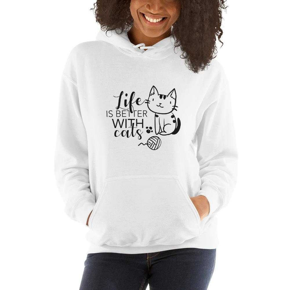 Life Is Better With Cats-Hooded Sweatshirt - bonboma