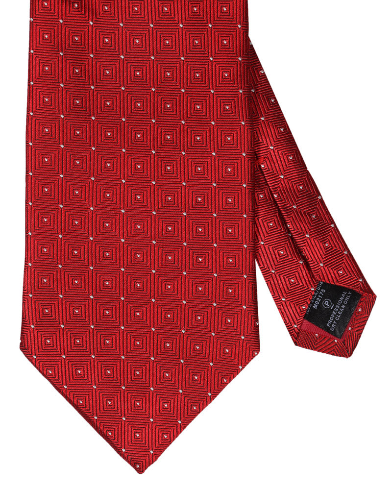 RED DOTED TIE - SILK