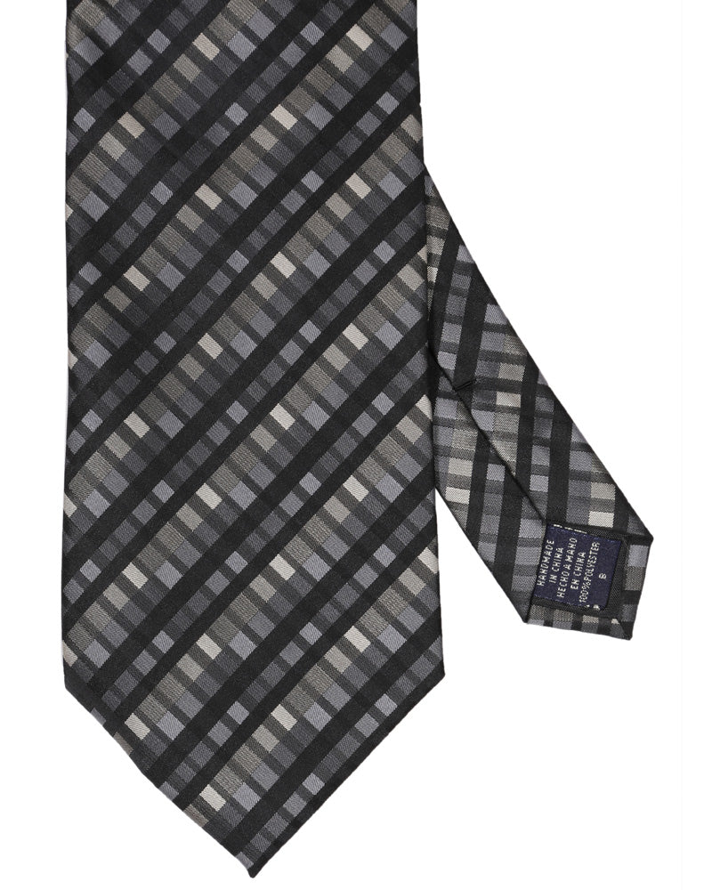 BLACK CHECK TIE - POLY
