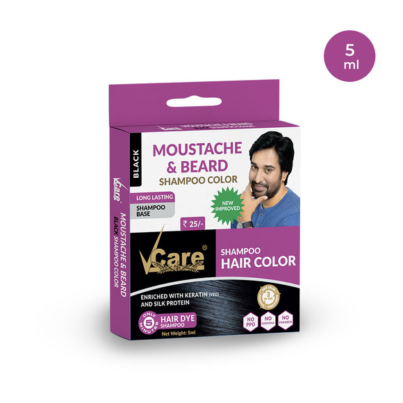 VCare Moustache & Beard Hair Color, Black, 5 ml, (Pack of 10)