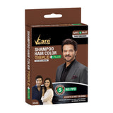 VCare Shampoo Hair Color Triple Plus, Brown, 25 ml, (Pack of 3)
