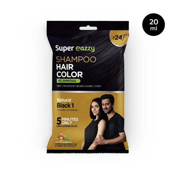 Super Eazzy Shampoo Hair Color Strip, Black, 20 ml, (Pack Of 10)