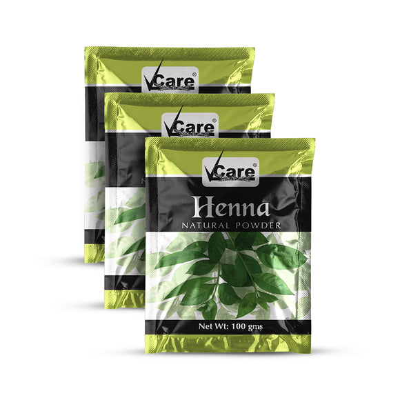 VCare Henna Natural Powder For Hair, 100 gm (Pack of 3)