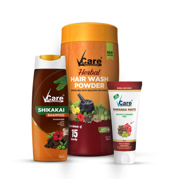 (VCARE SHIKKAKAI SHAMPOO 200 ML, HERBAL HAIR WASH POWDER 120 GM, SHIKKAKAI PASTE 150 GM) Combo
