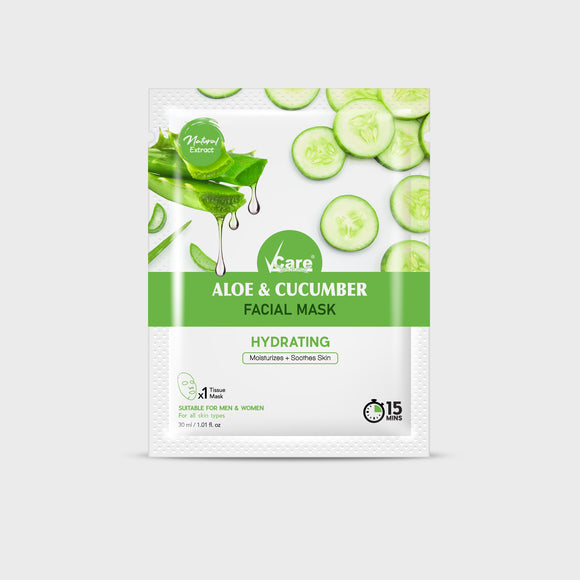 VCare Aloe & Cucumber Sheet Mask, 30 ml, Pack of 3
