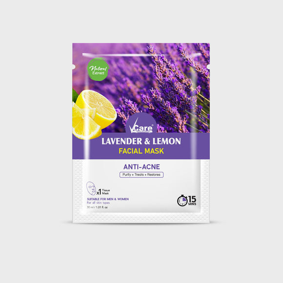 VCare Lavender & Lemon Sheet Mask, 30 ml, Pack of 3