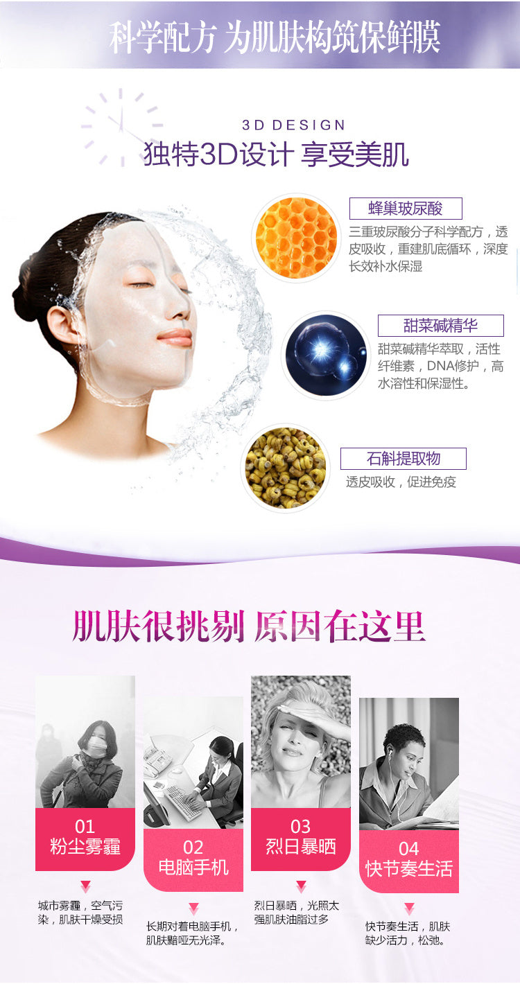 Biohyalux HA Aqua Moisturizing 3D Mask (38g/piece, 5 pieces/box)