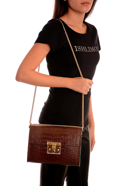 BROWN CROCO EMBOSSED SHOULDER BAG