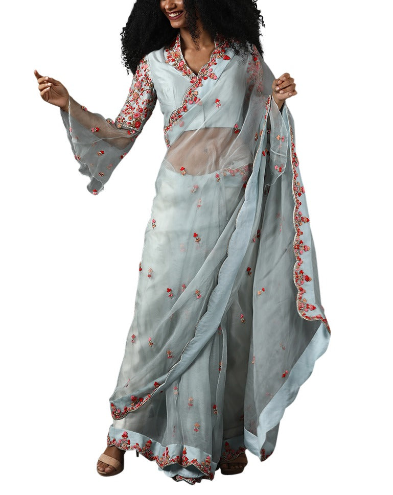 Light blue organza silk saree set with pink embroidery