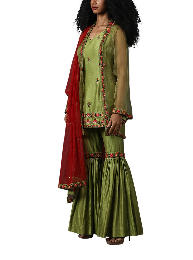 Green cotton silk sarara set with red dupatta